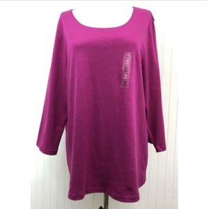 Karen Scott NWT Knit Top Solid Pink 100% Cotton